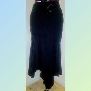Larry Levine belted midi/maxi skirt